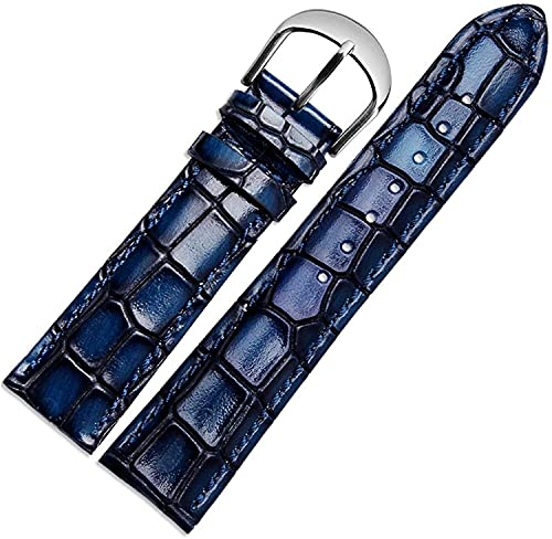 Cuero genuino Reloj de reloj de reloj de cocodrilo Correa de correa de correa de pulsera Banda de reloj de pulsera 18mm / 20mm / 22mm, cómodo transpirable ( Color : Blue , Size : 18mm Gold Clasp )