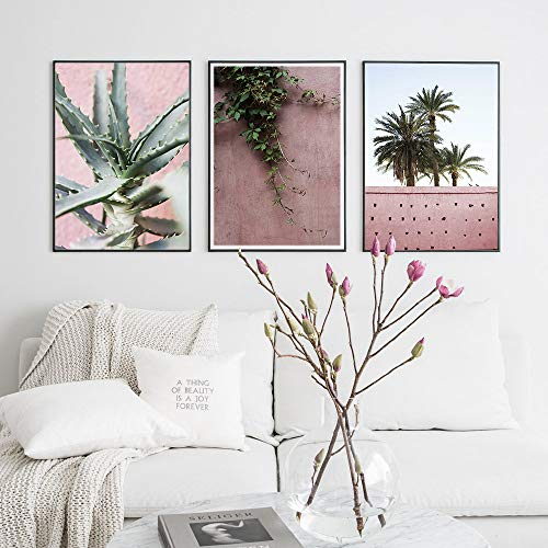 Pink Cactus Wall Art Nordic Balloon Palm Plant Minimalist Canvas Print Decoration Picture Modern Home Decor 50x70cmx3 NO Frame