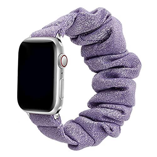 Scrunchie Correa para iWatch 38mm 40mm 42mm 44mm,Elástica Estampado Patrón Pulsera para Mujeres,Solo Loop Correas Repuesto Compatible con Apple Watch Series SE/6/5/4/3/2/1,Oro morado-S