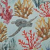 Tela de algodón por metros, corales, plumas de mar, tortuga, percal, multicolor, tela decorativa para cortinas, tela para ropa