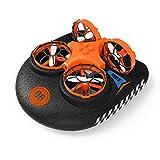 Hovercraft Drone, Mini Drone EACHINE E016F 2.4GHZ Modo sin Cabeza, Deformable Anfibio (1 Batería)…