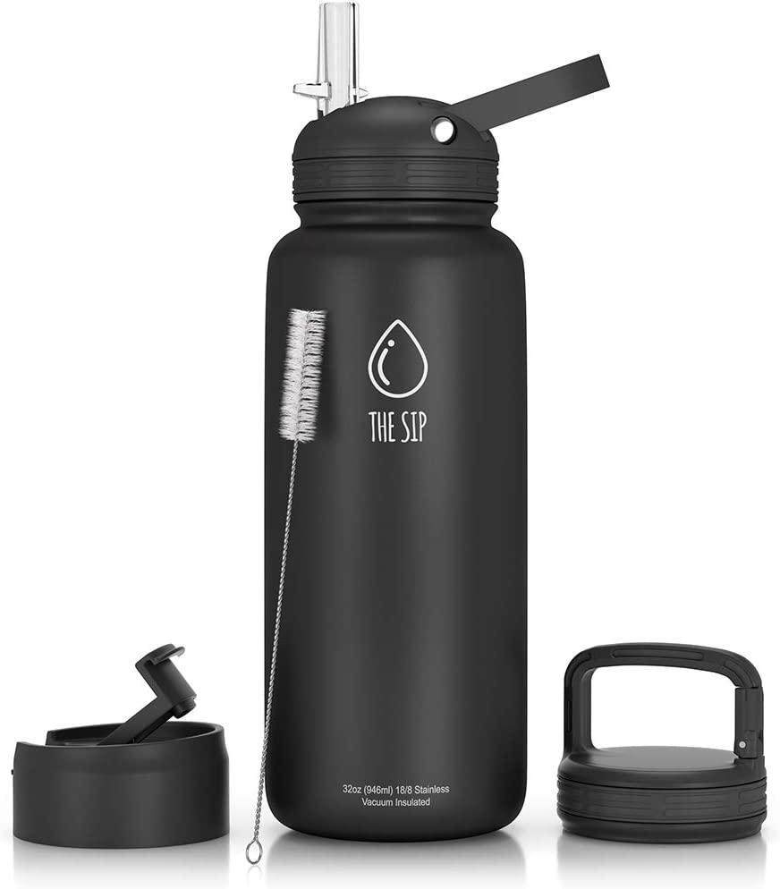 Stainless Steel Water Bottle With Straw Flip And Carabiner Lids 32 Oz Or 1 Liter Bpa Free Vacuum Insulated Metal Thermos Tumbler For Sports Travel Amazon Ca Sports Outdoors