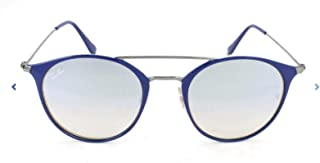 RB3546 Round Metal Sunglasses, Blue On Gunmetal/Grey Gradient Flash, 52 mm
