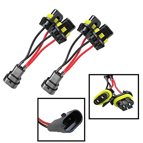 9005 9006 Headlight Bulb Xenon Light Connector Wire Harness High Beam Splitter Wiring Adapters For Quad Dual Projector Headlamp Retrofit (5 inch, set of 2 Pieces)