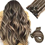 Clip in Hair Extensions 7pcs 70g Set #2/613 Dark Brown with Bleach Blonde Highlights Silky Straight Top Grade 7A Clip-in Hair Balayage Remy Hair Extensions for Women