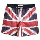 MaaMgic Ropa de Baño para Hombres Bañador para Vacaciones Short de Playa Natación Secado Rápido Piscina Ancla,Gris Oscuro Bandera del Reino Unido,M