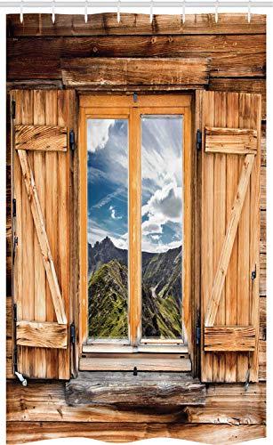 ABAKUHAUS Bunt Schmaler Duschvorhang, Berge und Täler, Badezimmer Deko Set aus Stoff mit Haken, 120 x 180 cm, Mehrfarbig