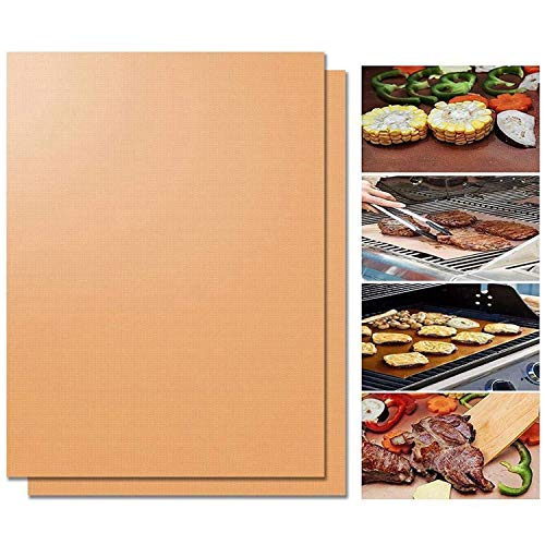 Preisvergleich Produktbild OMZGXGOD - 2er Set BBQ Grillmatte - Wiederverwendbare Premium Grill- und Backmatte mit Teflon Antihaftbeschichtung für Grill und Backofengolden