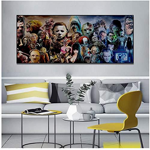 A&D Horror Movie Character Group Poster druckt Wandbilder für Wohnzimmer Aquarell Wandkunst Dekoration Leinwand Malerei -60x120cm Kein Rahmen
