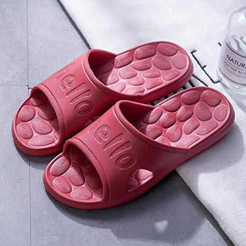 LNLJ - Sandalias de ducha antideslizantes, ligeras, de EVA, zapatillas de masaje de color Unie-Wine Red_38-39, para reducir el dolor en los pies