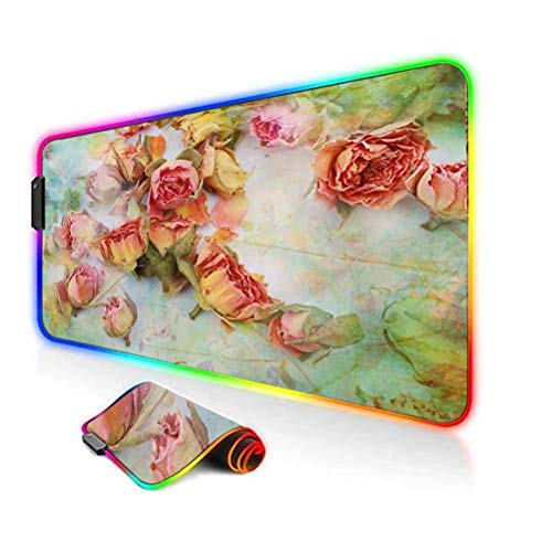 RGB Gaming Mouse Pad Mat,Dried Roses Petals Leaves Nostalgic Fragile Floral Vintage Abstract View Artistic Computer Keyboard Desk Mat,35.6'x15.7',for Game Players,Office,Study Multicolor