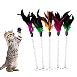 MAIYU Cat Teaser Wand (5 Pack), Metal Wire Spring Cat Toy with Feather and Bell Sucker Cat...