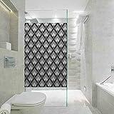 Pellicola decorativa statica per fai da te, motivo bohémien grigio e nero, con triangoli verticali, non adesiva, senza residui, facile da tagliare per bloccare il sole, 59,9 x 199,9 cm