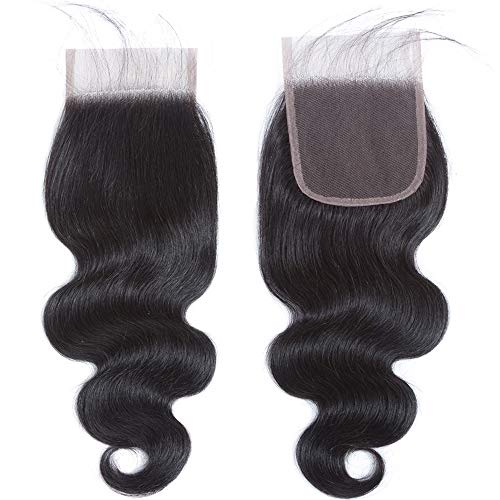 QTHAIR 12A Body Wave Brazilian Virgin Human Hair with 4x4 Lace Closure 16 inch Natural Black Brazilian Body Wave Human Hair Swiss Lace Closure No Bleached Knots