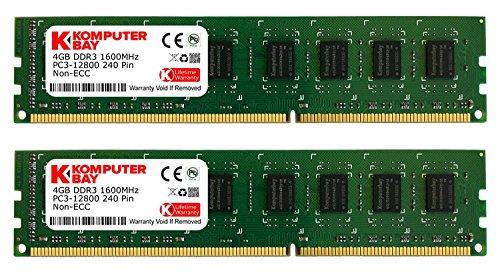 Komputerbay KB 8GB 2x4GB 1600 DIMM CL10 BLKHS - Kit de memoria RAM de 8 GB (2 x 4 GB, 1600 MHz, DDR3 SDRAM, PC3 12800)