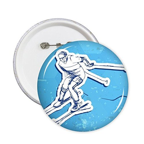 DIYthinker Winter Sport Snowboarden Contes Ski Actie Blauw Wit Aquarel Illustratie Ronde pinnen Badge Knop Kleding Decoratie 5 Stks XXL