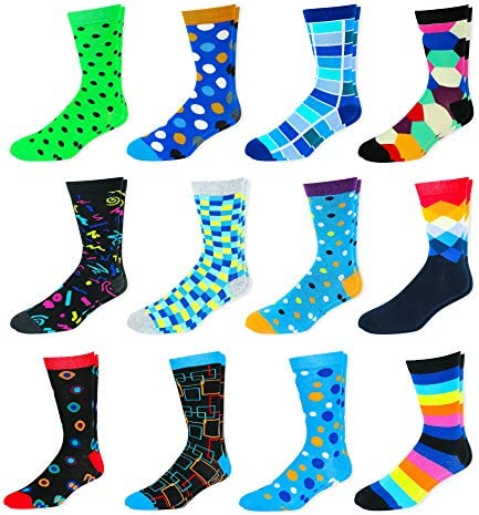 Men s Colorful Dress Socks Fun Patterned Funky Crew Socks For Men 12 Pack Style 5 Shoe Size product image