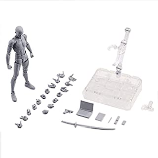 Action Figure Model, Human Mannequin Body-Kun DX & Body-Chan DX PVC Model for SHF(Grey Color Ver.) with Box(Male) for Draw...