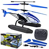 Brookstone Hi-Tech Amphibious RC Helicopter with Remote Control - Aquacopter - 6 Axis Gyro, 2.4 GHz Remote with Rechargeable Battery - Perfect for Boys, Girls and Beginners