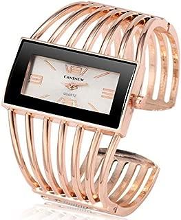 JIANGNIAU Watches WAT2008 Alloy Bracelet Watch Creative Rectangular Dial Quartz Watch for Women(Silver+Black) (Color : Rose Gold+White)