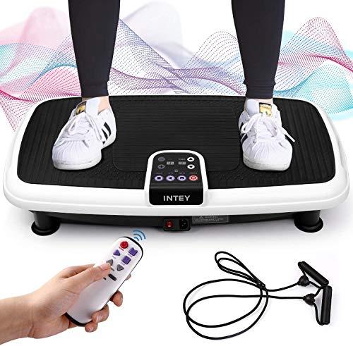 INTEY Vibrationsplatte Vibrationsgerät für Ganzkörper Traningsgiegrät mit 2 Expandern und Fernbedienung, Vibrationstrainer bis zu 120Kg belastbar