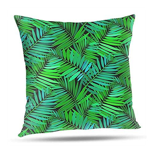 XINlOFNhE Decorativo Funda de Cojín 50x50 cm Tropical Palm Leaf IN Multiple Green Funda de Almohada Cuadrado para Sofá Cama Decoración para Hogar 20x20 Inch A#006