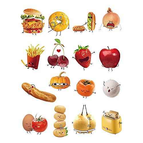 decalmile Cucina Adesivi Murali Cibo Emoji Adesivi da Parete Removibile Vinile Decorazione Murale per Camerette Bambini Cucina Sala da Pranzo