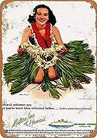 ハワイへのマトソン線 メタルポスター壁画ショップ看板ショップ看板表示板金属板ブリキ看板情報防水装飾レストラン日本食料品店カフェ旅行用品誕生日新年クリスマスパーティーギフト