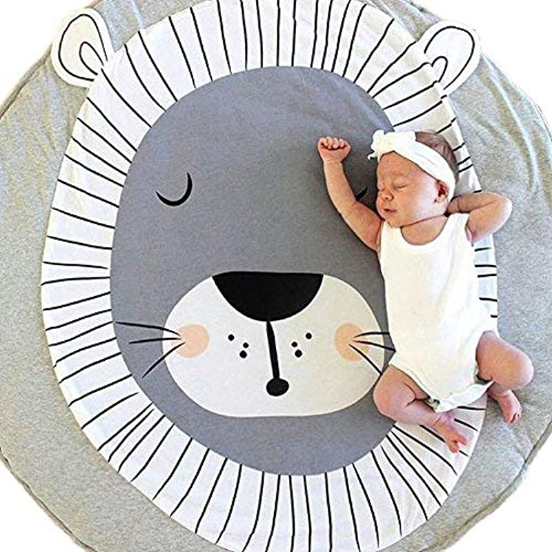 USTIDE Baby Rugs Creeping Crawling Mat Cartoon Sleeping Rugs Baby Anti Slip Game Mat 100 Cotton Floor Play Mat Blanket Play Environmental Carpet Kids Room Decor 37 4 X 37 4 Lion
