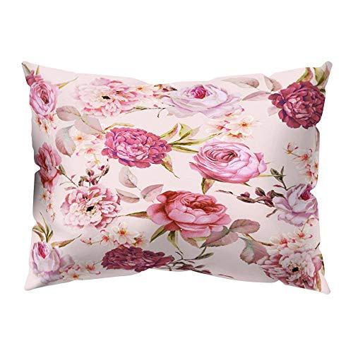 VJGOAL impresión Floral Suave Piel de melocotón Terciopelo Funda de Almohada decoración para el hogar cómodo cojín Cubierta(Multicolor4,30_x_50_cm)
