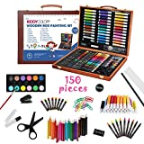 KIDDYCOLOR 150 Pieces Deluxe Artist Drawing & Painting Set, Portable Wooden Case with Oil Pastels, Crayons, Colored Pencils, Markers, Gift for Kids Teens