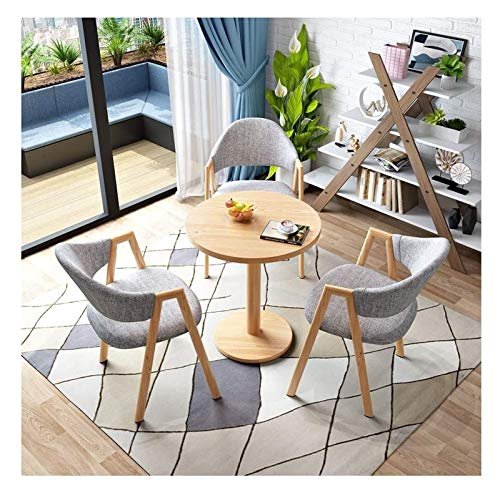 DYYD Table and Chair Set of 4 Home Kitchen Leisure Table 60cm Living Room Round Table Balcony Terrace Living Room Dining Table and Chair Combination Nordic Modern Style Wood Look Metal Legs