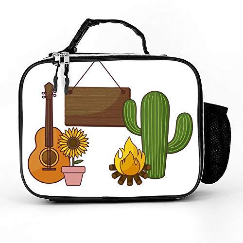 happygoluck1y Cactus Plant Met Zonnebloem En Iconen Lunch Tassen Geïsoleerde Rits met Zakken Draagbare Lunch Box voor Vrouwen voor Werk voor Kinderen