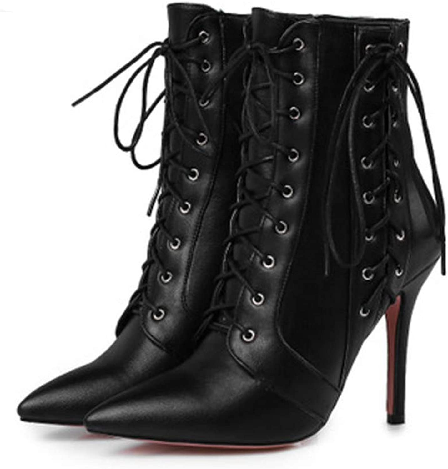 SENERY Winter Boots Women Lace-Up Zipper Leather Cross-Tied Decoration Pointed Toe High Heel Ankle Boots