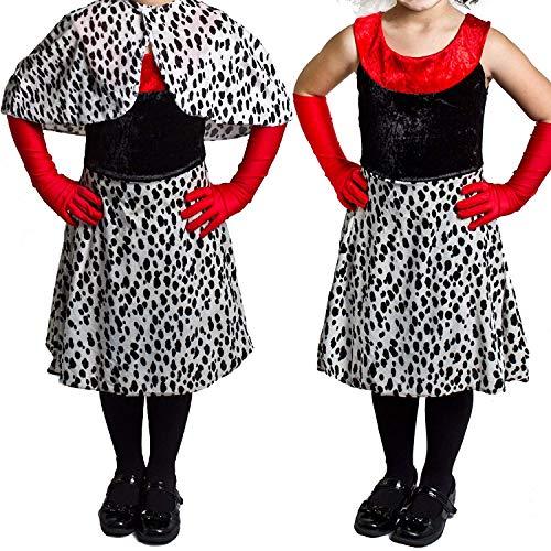 Déguisement de la femme cruelle envers les dalmatiens avec une cape couvre épaule + une jupe + une paire de gants pour enfant. Ideal pour les fêtes de fin d'école ou pour Halloween. ( Medium - 7/9ans )