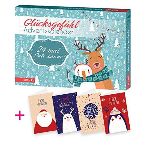 itenga AktionsSet6 1x Roth gefüllter Adventskalender Glücksgefühl Gute Laune + 4 Weihnachtskarten Klappkarten