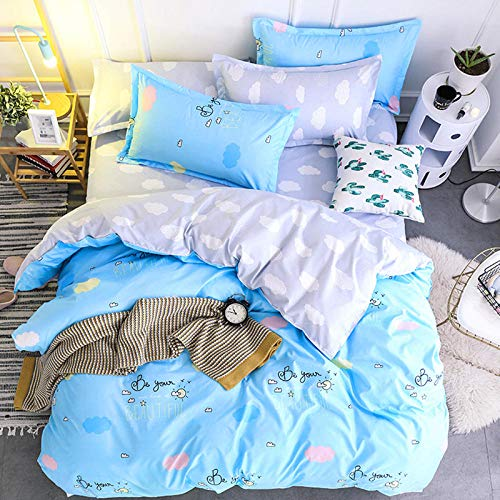 Duvet Cover Set 3 Lazy afternoon Soft Cosy Easy Care Hypoallergenic 1 Duvet Cover Set and 2 Pillowcases Polyester Fiber Material-53.1x78.7inch