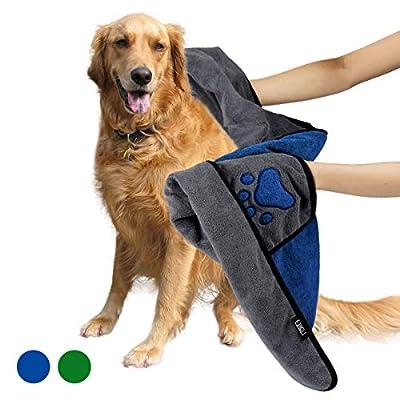 ETACCU Dog Bathrobe, Pet Bath Towel, Absorb Moisture Fast Drying Coat for Puppy, Soft Microfibre Bathing Accessories - 70 x 100 cm Dry Fast Dog Bag Cat Robe (Blue)