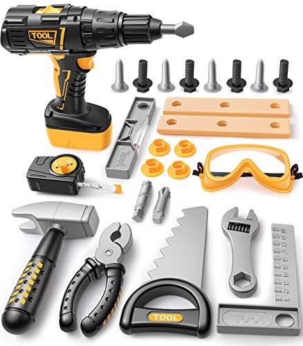 GeyiieTOYS Kinder Werkzeug Set, 27 Stücke Kinderwerkzeug Elektrische Bohrmaschine Werkzeug Spielzeug Kinder Rollenspiel Geschenke für 3 4 5 jährige Mädchen Jungen