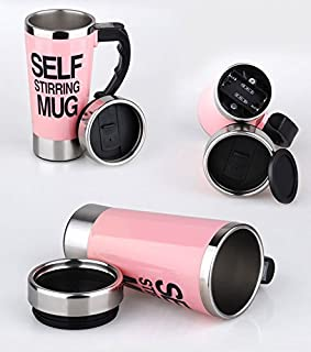 Fashion Stainless Lazy Self Stirring Mug Auto Mixing Tea Coffee Cup Office Gifts (500ml, Pink)