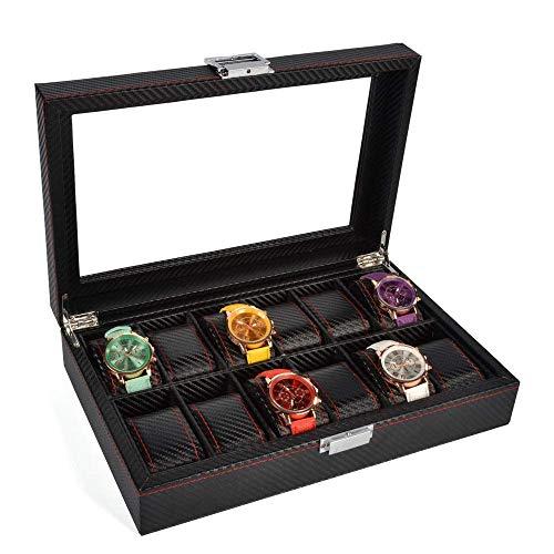 GUOCAO Caja de almacenamiento para reloj con 12 ranuras de madera, con tapa de cristal, soporte para reloj con almohadas extraíbles (color: negro, tamaño: S), pantalla (color: negro, tamaño: pequeño)