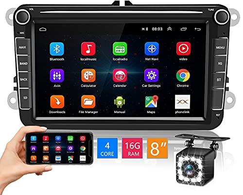 Hikity Android 2 DIN Radio de Coche para VW Skoda Seat Navegación GPS 8' Pantalla Táctil Estéreo del Coche con FM WiFi USB Enlace Espejo + Canbus Box + Cámara Visión Trasera