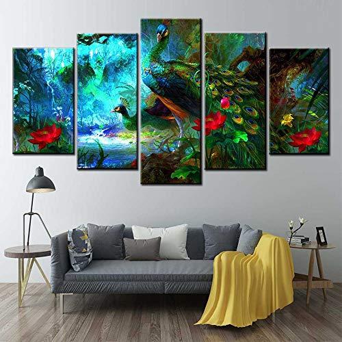 5 Stücke Leinwand Wandkunst blau Pfau Leinwanddruck Tierlandschaft Kunst Schlafzimmer Dekoration,Rahmenlose Malerei,40x60cmx2, 40x80cmx2, 40x100cmx1
