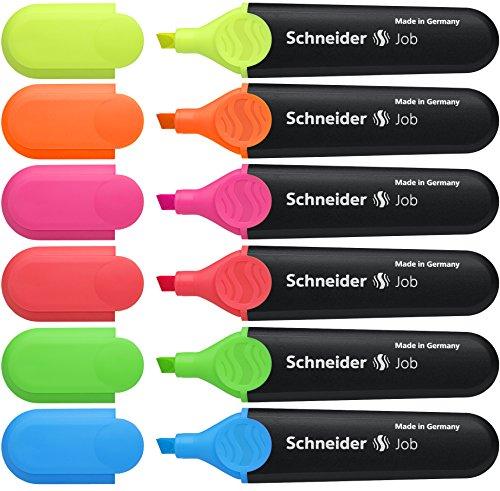 Schneider Job 150 Textmarker (nachfüllbar und lichtbeständig) 6er Etui gelb, orange, rosa, grün, blau, rot