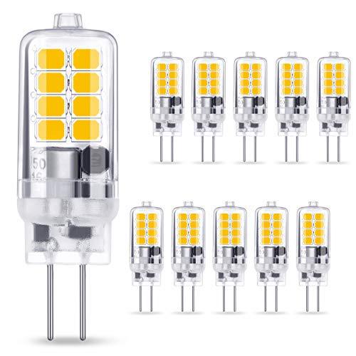 AMBOTHER G4 LED Lampe 3W 250LM, Warmweiß 3000K 16x 2835 SMD ersetzt 30W Halogenlampe, Kein Flackern CRI 85, 360° Abstrahlwinkel 12V AC/DC, Nicht Dimmbar G4 LED Leuchtmittel Birnen Glühbirne, 10er Pack