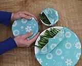 EMBAL'VERT - Emballage Alimentaire à la Cire d'Abeille - Pack de 3 (Petit - Moyen - Grand)- Motif Fleurs Turquoises - 85g