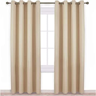 NICETOWN Bedroom Room Darkening Curtains - Triple Weave Microfiber Grommet Top Thermal Insulated Solid Room Darkening Panels/Drapes for Kid's Room (Biscotti Beige, 1 Pair, 52 inches by 95 Inch)