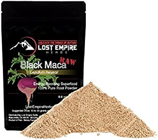 Raw Black Maca Powder - Organic Adaptogenic Herb - Natural Energy Boost - Increases Endurance, Stamina, Libido, Memory - Non-GMO, Vegan & Paleo Friendly - Packed with Amino Acids - (250 g)