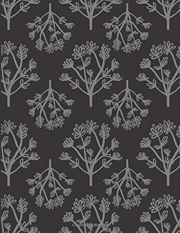 音印象的な見せますBig Notebook: Extra Large Lined Notebook with 500 Pages for Big Projects Black with Light Gray Flower Pattern