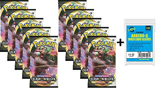 A Pokemon 10 Booster Clash der Rebellen Sammelkarten | DEUTSCH | Schwert & Schild Karten Serie | + Arkero-G 100 Soft Card Sleeves